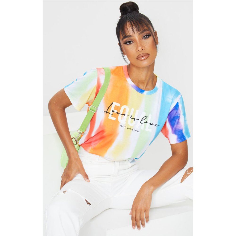 T-shirt imprimé tie & dye à slogan Equal - PrettyLittleThing - Modalova