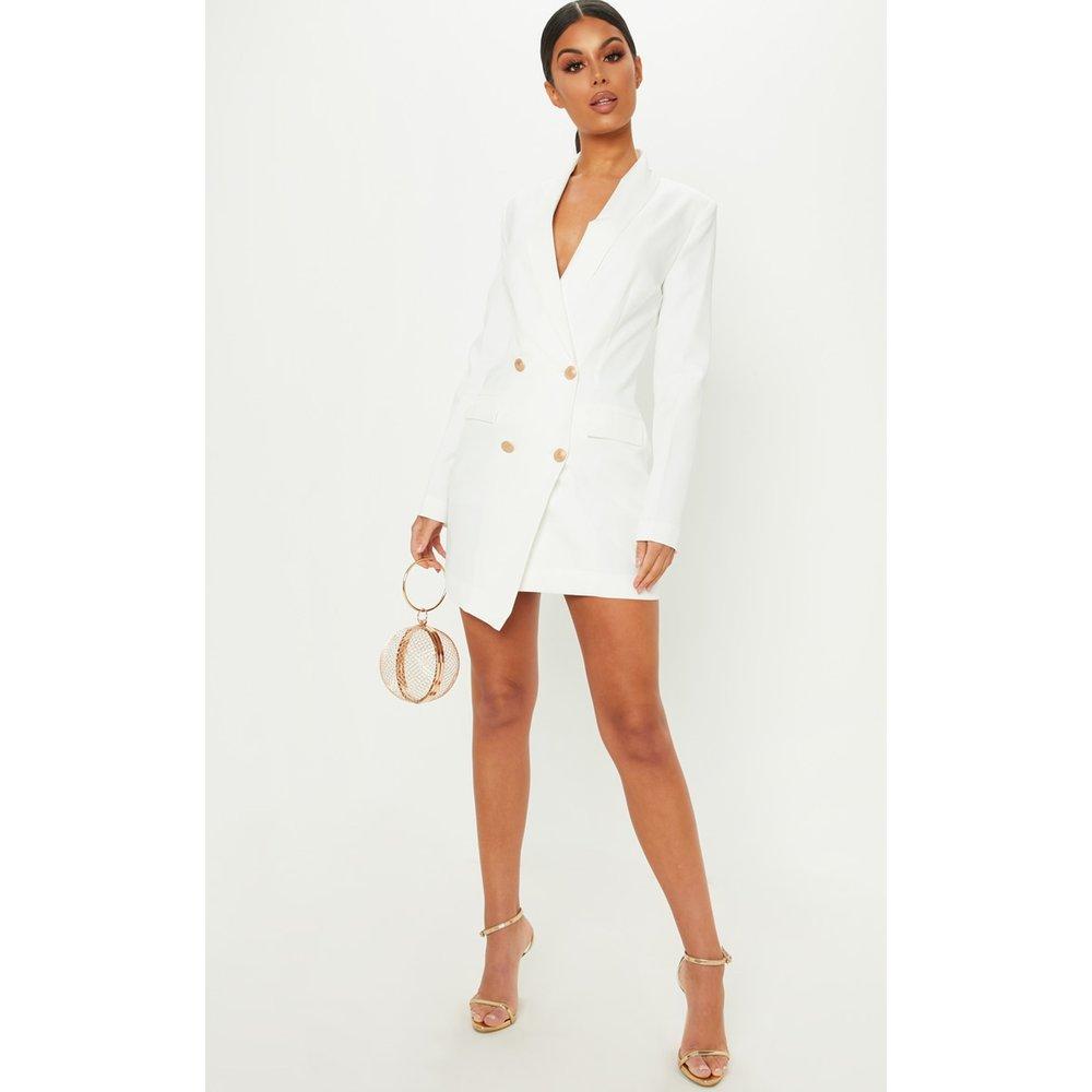Robe blazer blanche à boutons dorés - PrettyLittleThing - Modalova