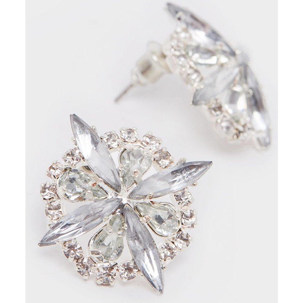 Boucles d'oreilles clou design fleur à pierres fantaisie - PrettyLittleThing - Modalova