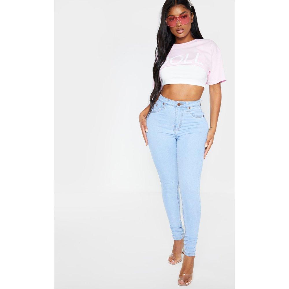 Shape - Jean skinny délavé clair super stretch à taille haute - PrettyLittleThing - Modalova