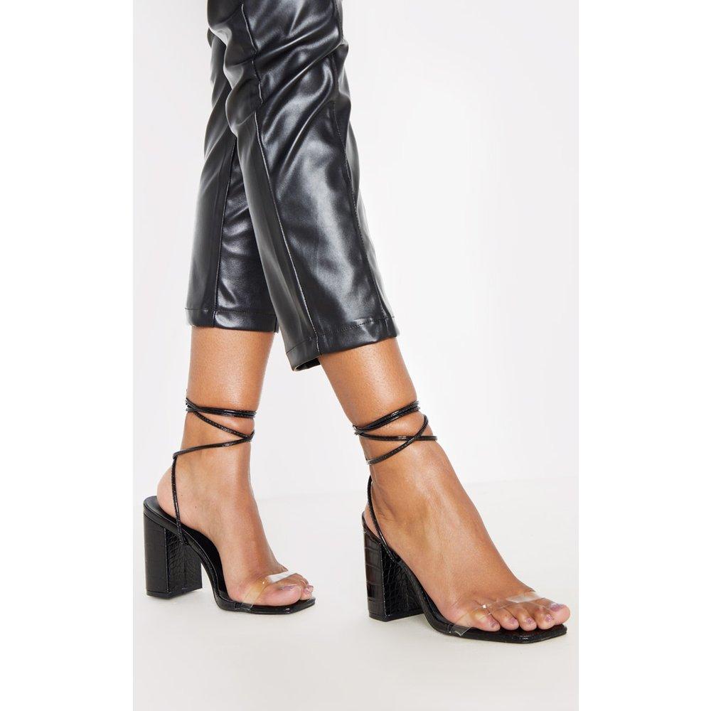 Sandales à lacets et talons carrés chunky - PrettyLittleThing - Modalova