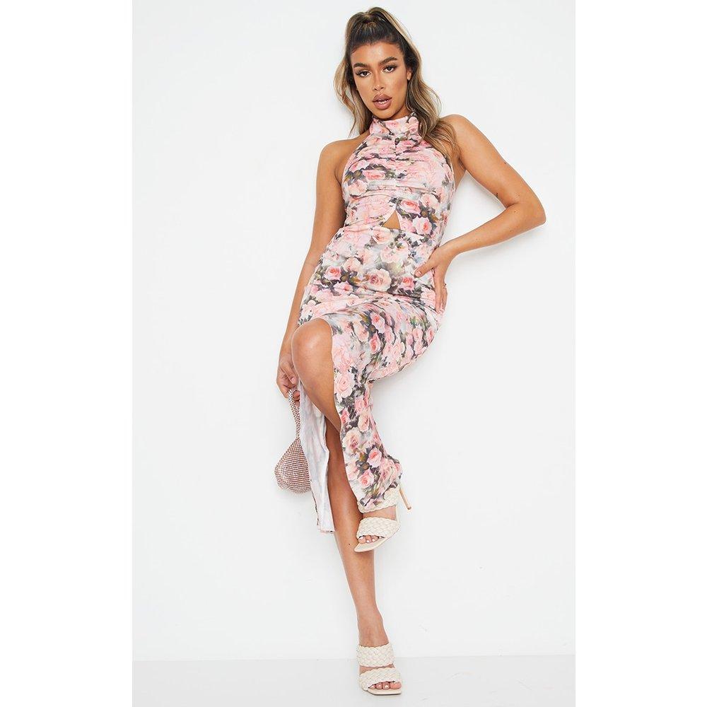Robe sirène mi-longue froncée imprimé roses à col montant - PrettyLittleThing - Modalova