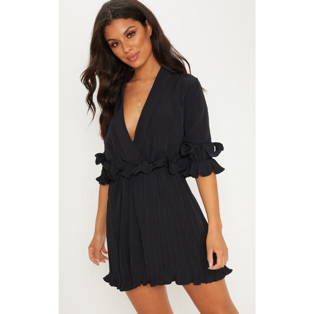 f7bf9d4a466 PrettyLittleThing frill detail pleated skater dress at £35