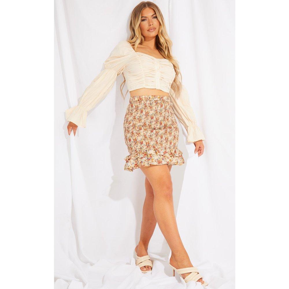 Mini-jupe fleurie volantée en maille tissée froncée - PrettyLittleThing - Modalova