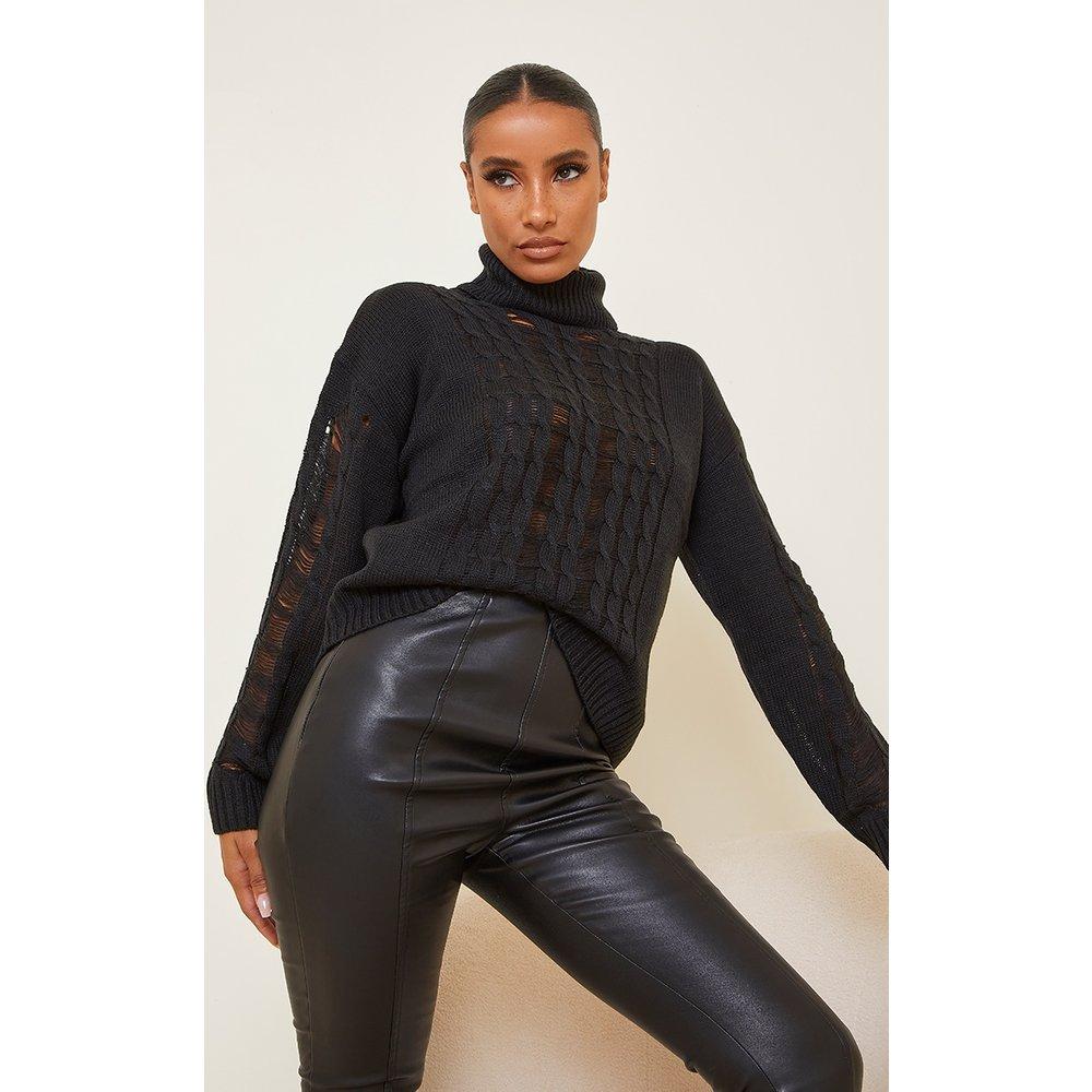 Pull en maille tricot à col roulé et détail déchiré - PrettyLittleThing - Modalova