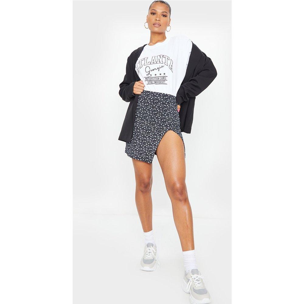 Mini-jupe côtelée imprimé floral à fente - PrettyLittleThing - Modalova