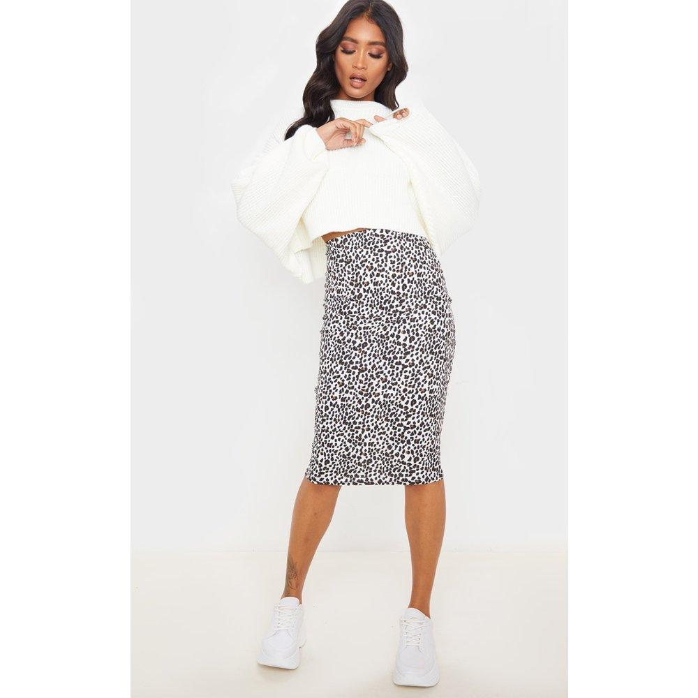 Jupe mi-longue côtelée blanche imprimé léopard - PrettyLittleThing - Modalova