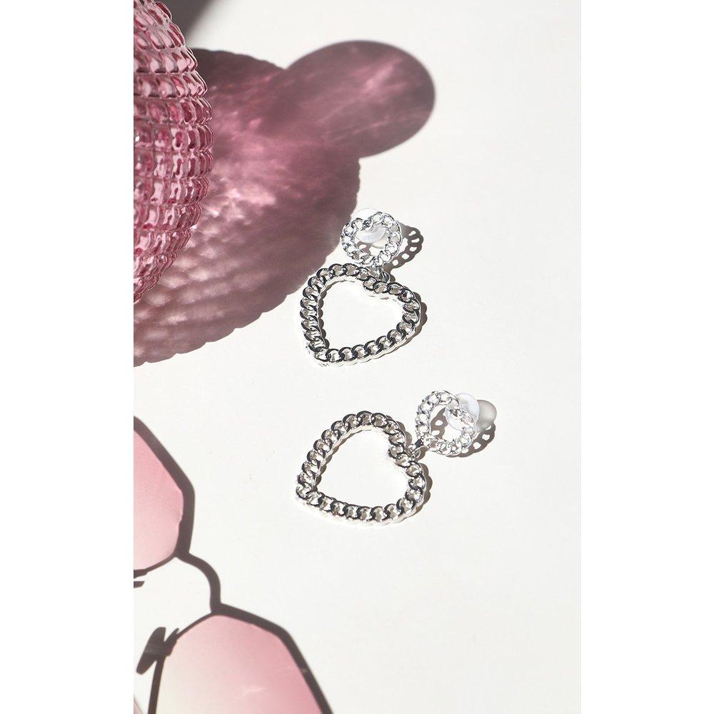 Boucles d'oreilles à maillons coeurs pendants - PrettyLittleThing - Modalova
