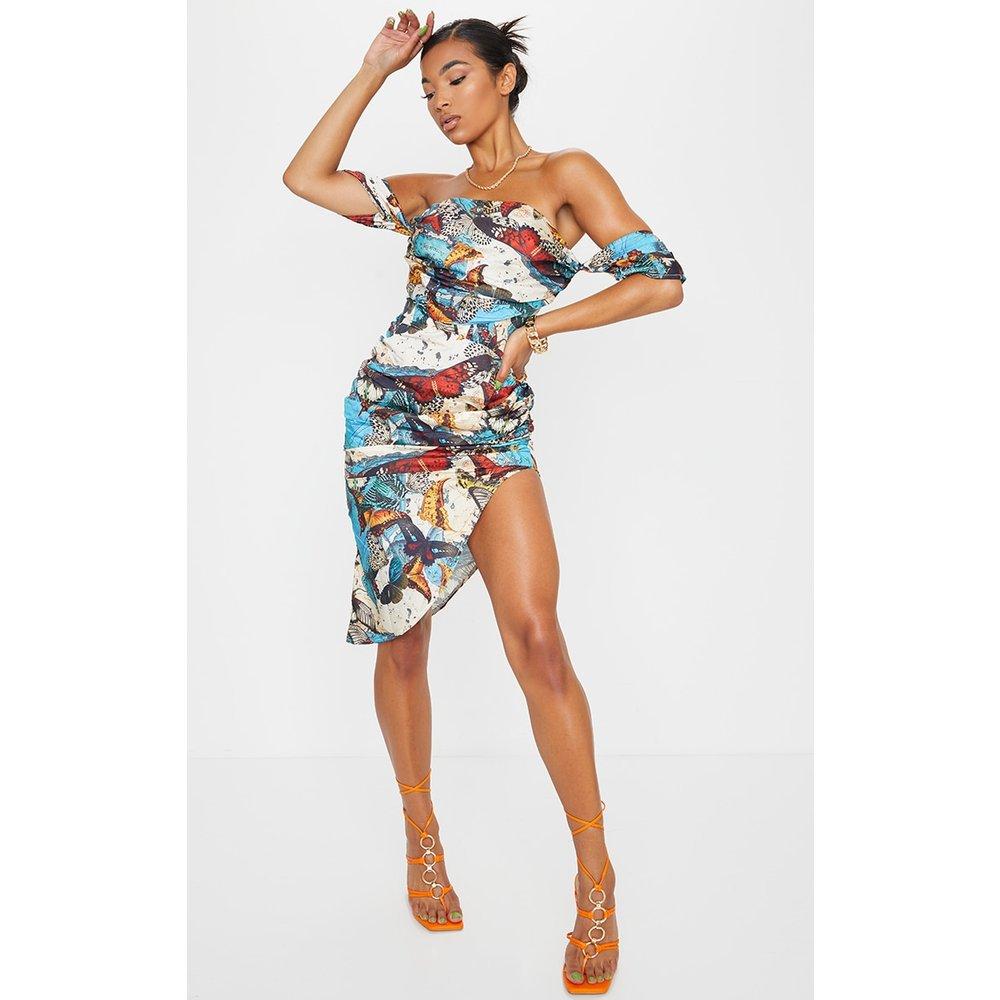 Robe mi-longue froncée avec partie corset et imprimé papillons - PrettyLittleThing - Modalova
