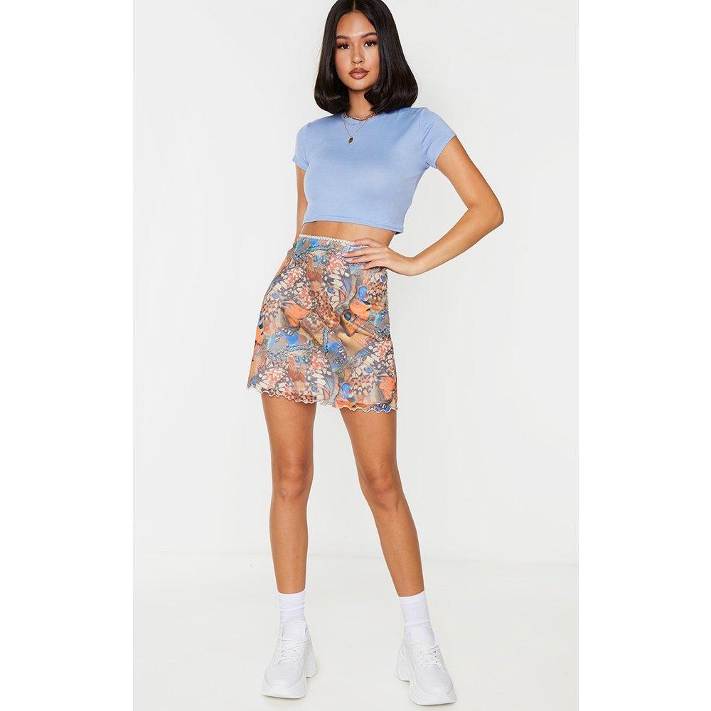 Mini-jupe en mesh imprimé papillons à ourlet légèrement volanté - PrettyLittleThing - Modalova