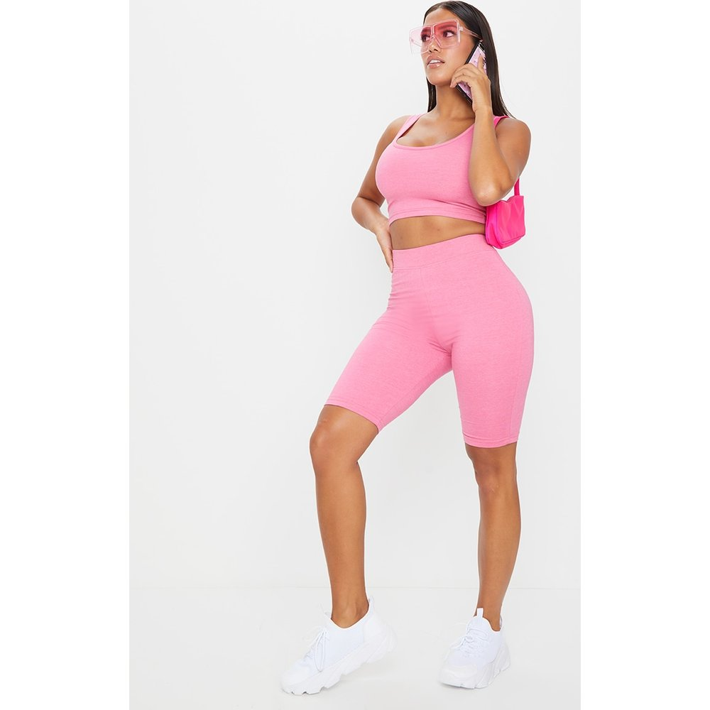 Shape - Short legging taille haute en coton chiné - PrettyLittleThing - Modalova