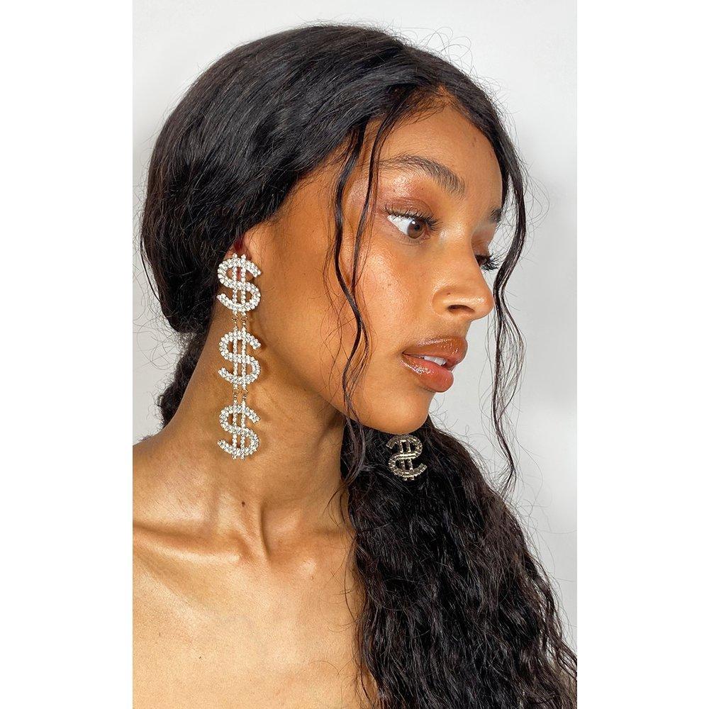 Boucles d'oreilles pendantes à signes dollars - PrettyLittleThing - Modalova