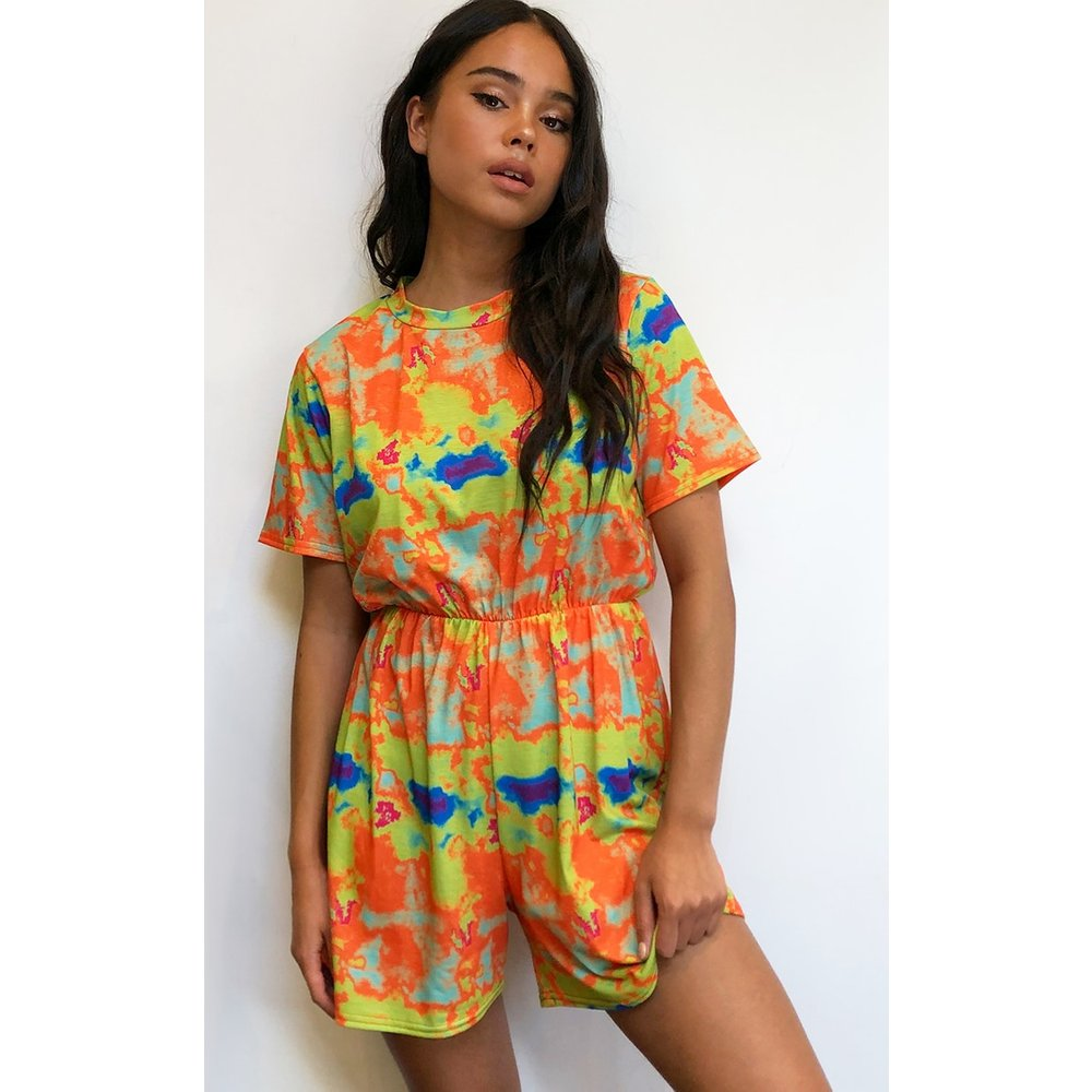 Combishort tee-shirt imprimé tie & dye à manches courtes - PrettyLittleThing - Modalova
