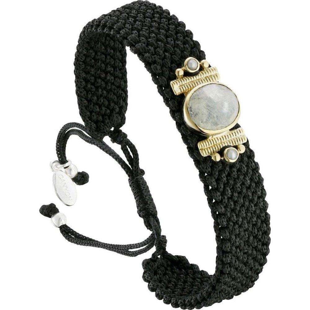 Bracelet cordon en argent 925, dorure or, Labradorite, 5.12g - Canyon - Modalova