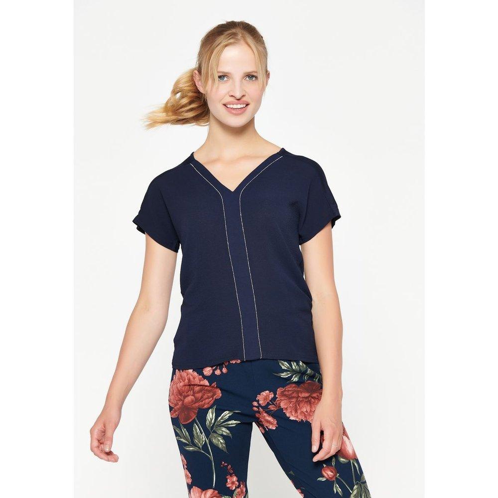 T-shirt avec col V à encolure pailletée - LOLALIZA - Modalova