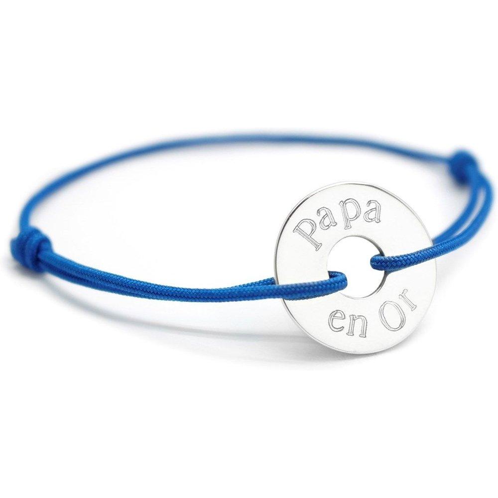Bracelet cordon médaille ronde ajourée argent 925 gravure PAPA EN OR - PETITS TRESORS - Modalova