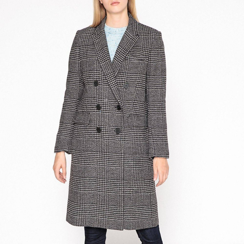 Manteau long à carreaux, laine mélangée MAE - Gerard Darel - Modalova