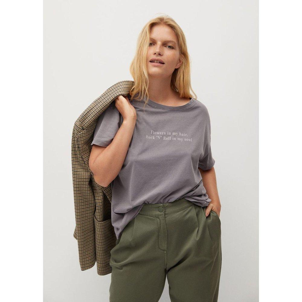 T-shirt coton message - Violeta by Mango - Modalova