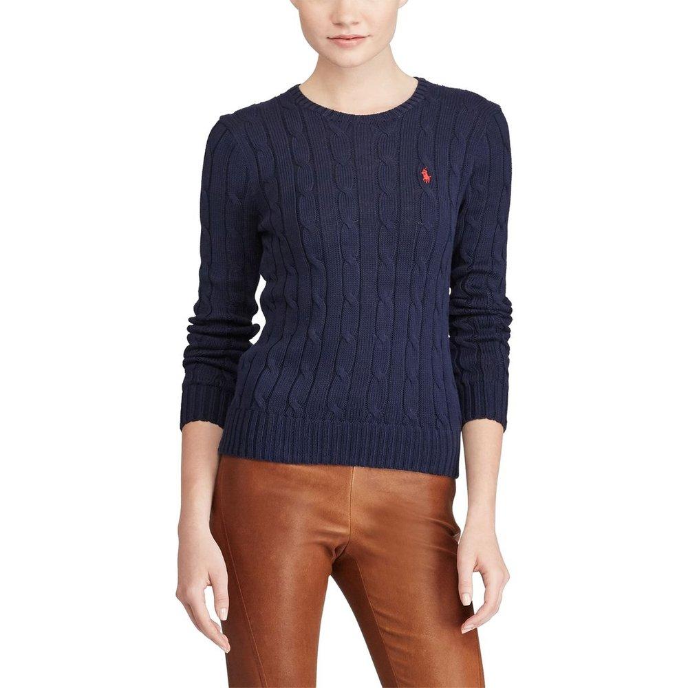 Pull à col rond en fine maille torsadée de coton - Polo Ralph Lauren - Modalova