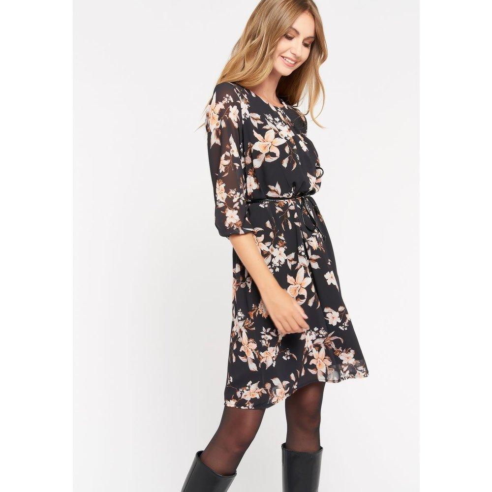 Robe mini fleurie avec ceinture - LOLALIZA - Modalova