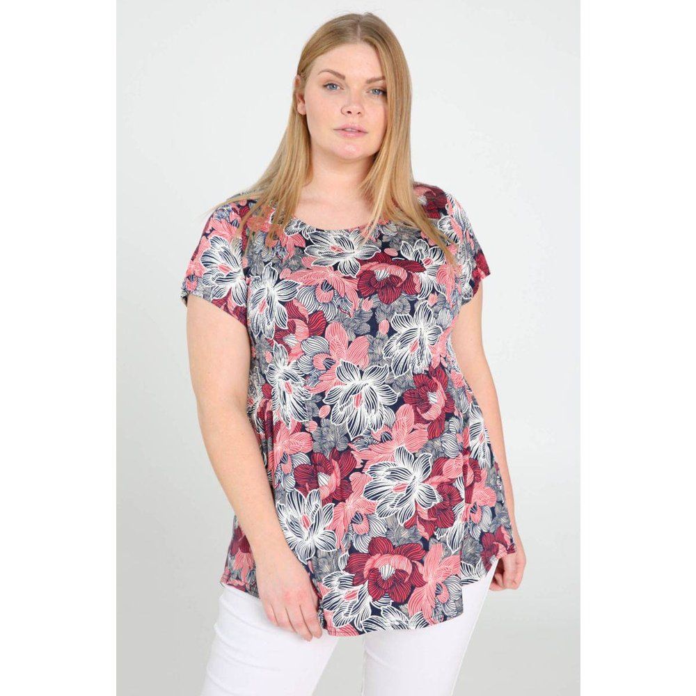 T-shirt tunique plissé imprimé fleurs de lotus col v manches courtes - PAPRIKA - Modalova