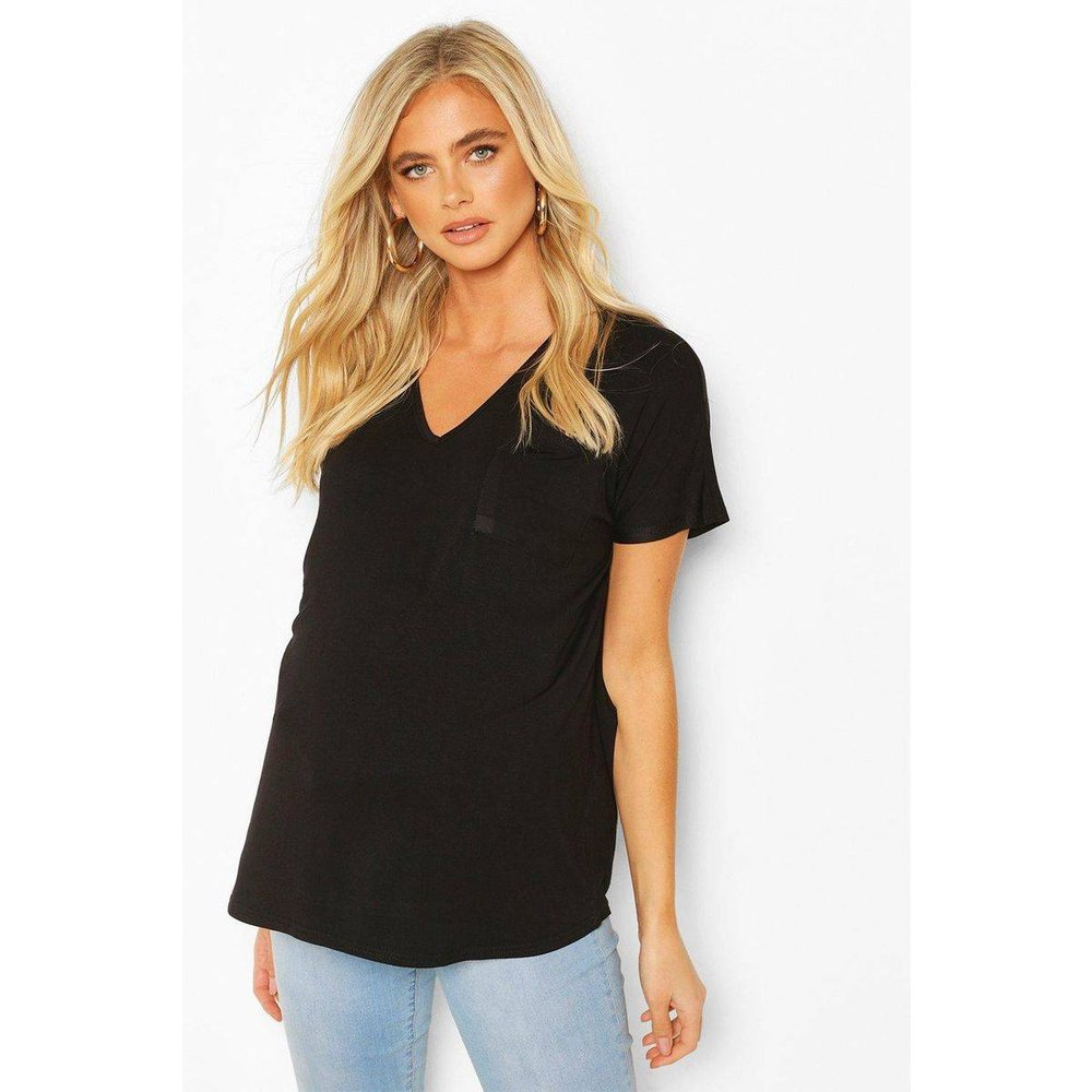 Tee-shirt de grossesse col v manches courtes - BOOHOO MATERNITY - Modalova