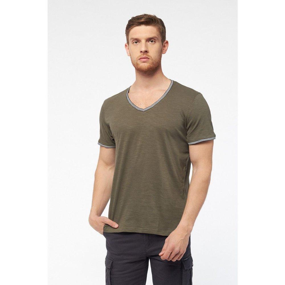 T-shirt col V avec liseré coloré - BEST MOUNTAIN - Modalova