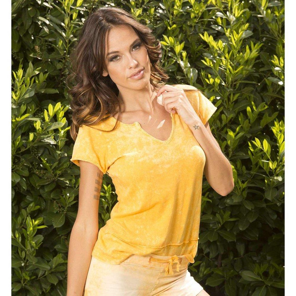 T-shirt délavé col Tunisien - BODY ONE - Modalova