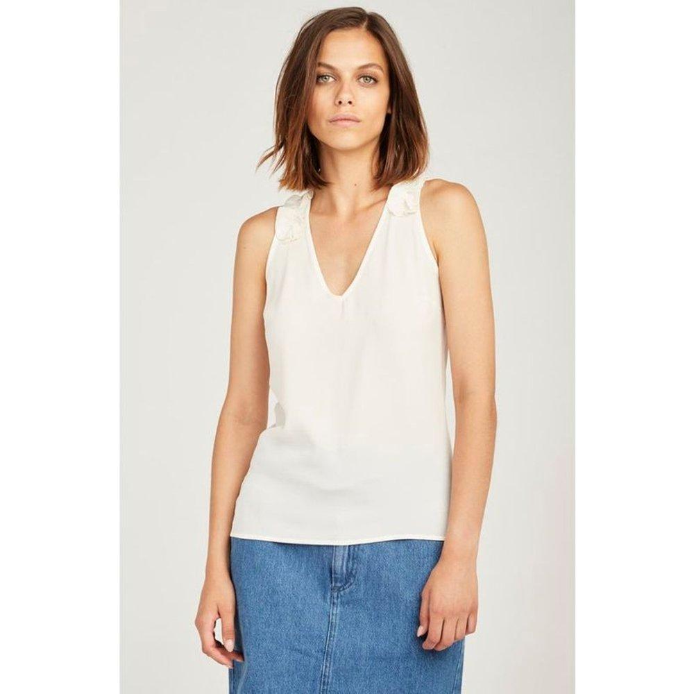 Tee shirt sans manches froufrou sur les epaules - Naf Naf - Modalova