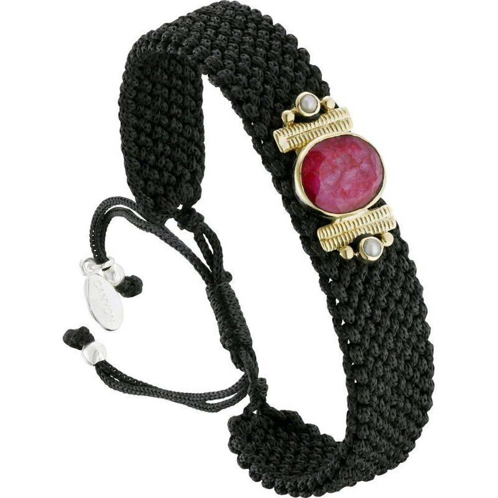 Bracelet cordon en argent 925, dorure or, Sillimanite, 5.12g - Canyon - Modalova