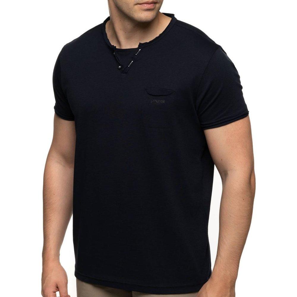 T-shirt manches courtes rayé col boutons - SHILTON - Modalova
