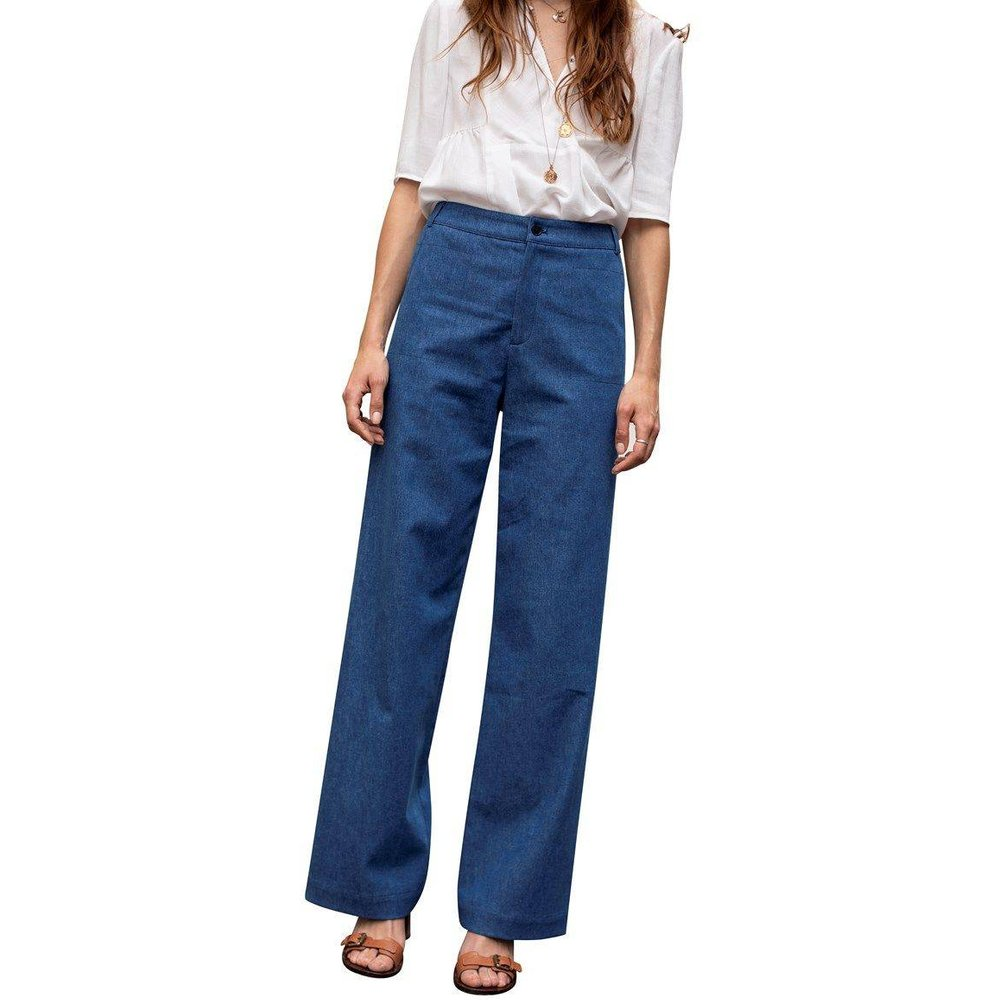 Pantalon flare en jean - CHEMINS BLANCS - Modalova