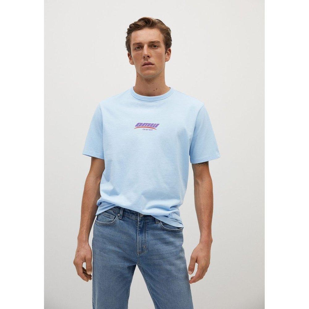 T-shirt coton message - mango man - Modalova