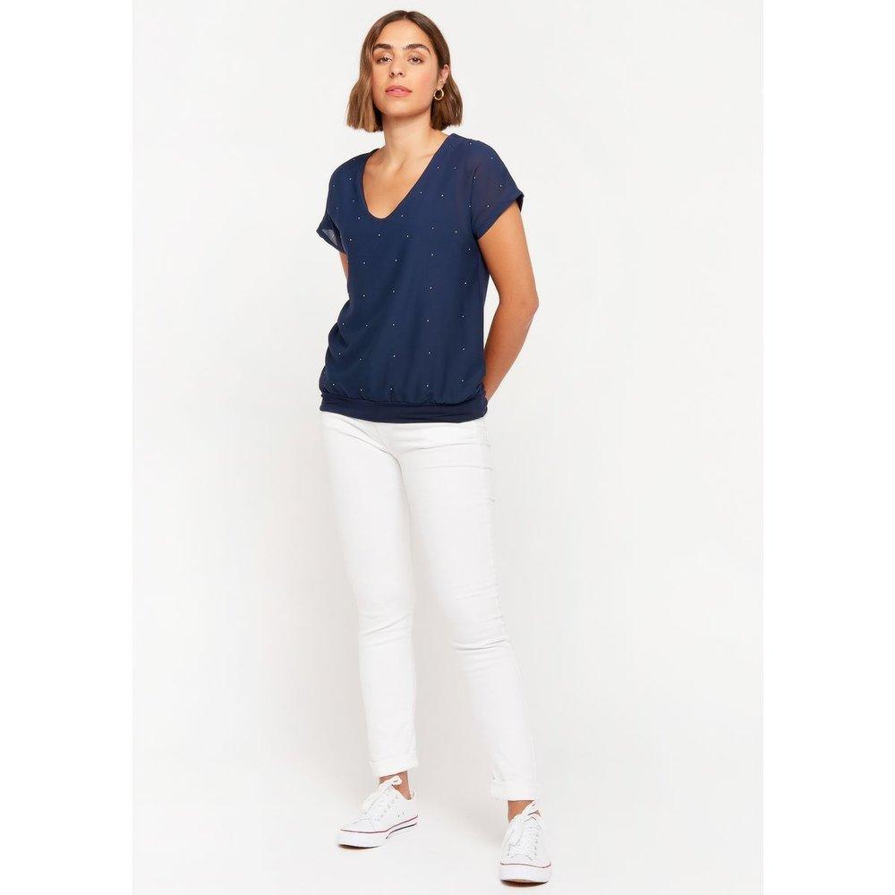 T-shirt avec col en V et strass - LOLALIZA - Modalova