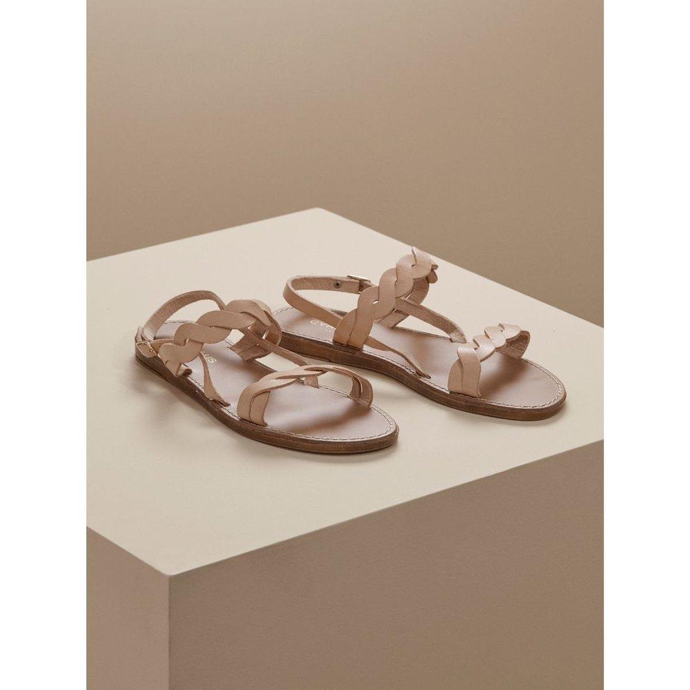 Sandales plates cuir tressé - CYRILLUS - Modalova