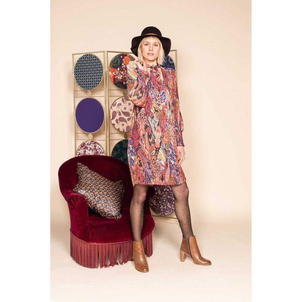Robe courte plissée imprimée à manches longues - Modèle Emissaire - DERHY - Modalova