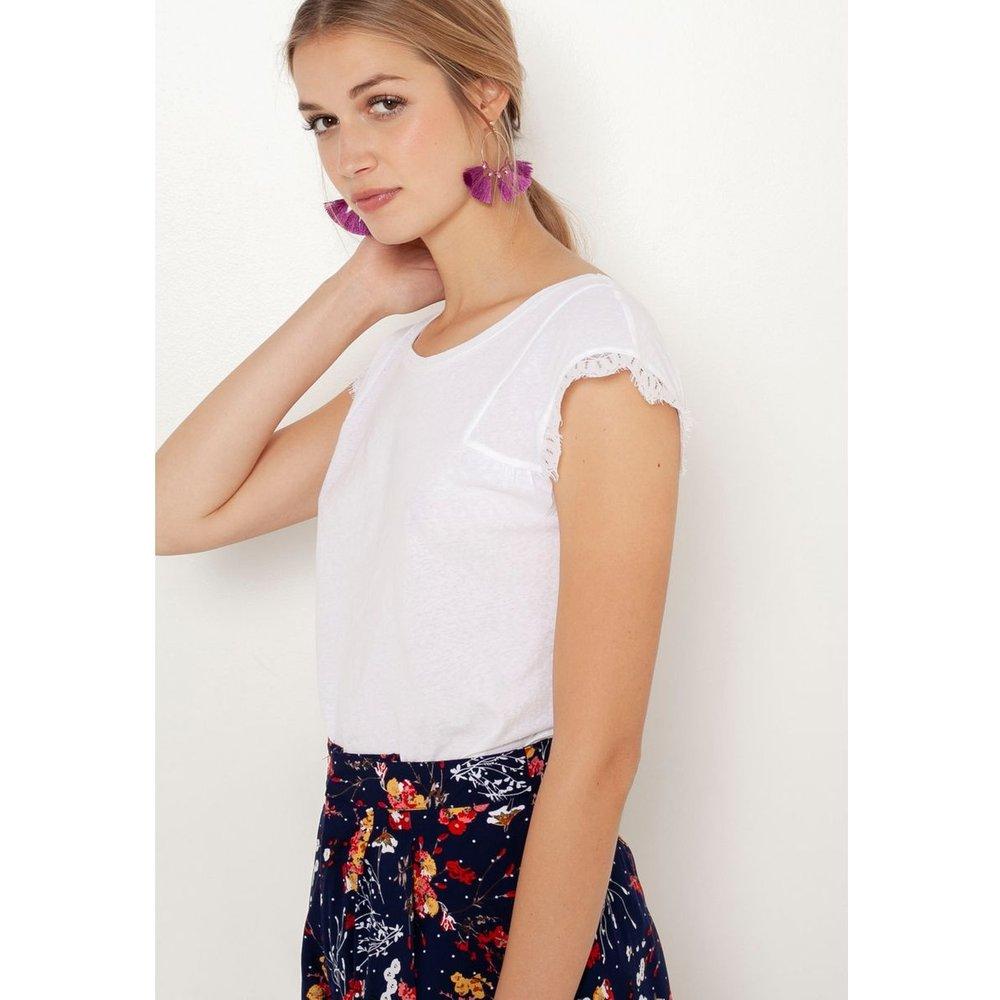 T-shirt manches dentelle - CAMAIEU - Modalova