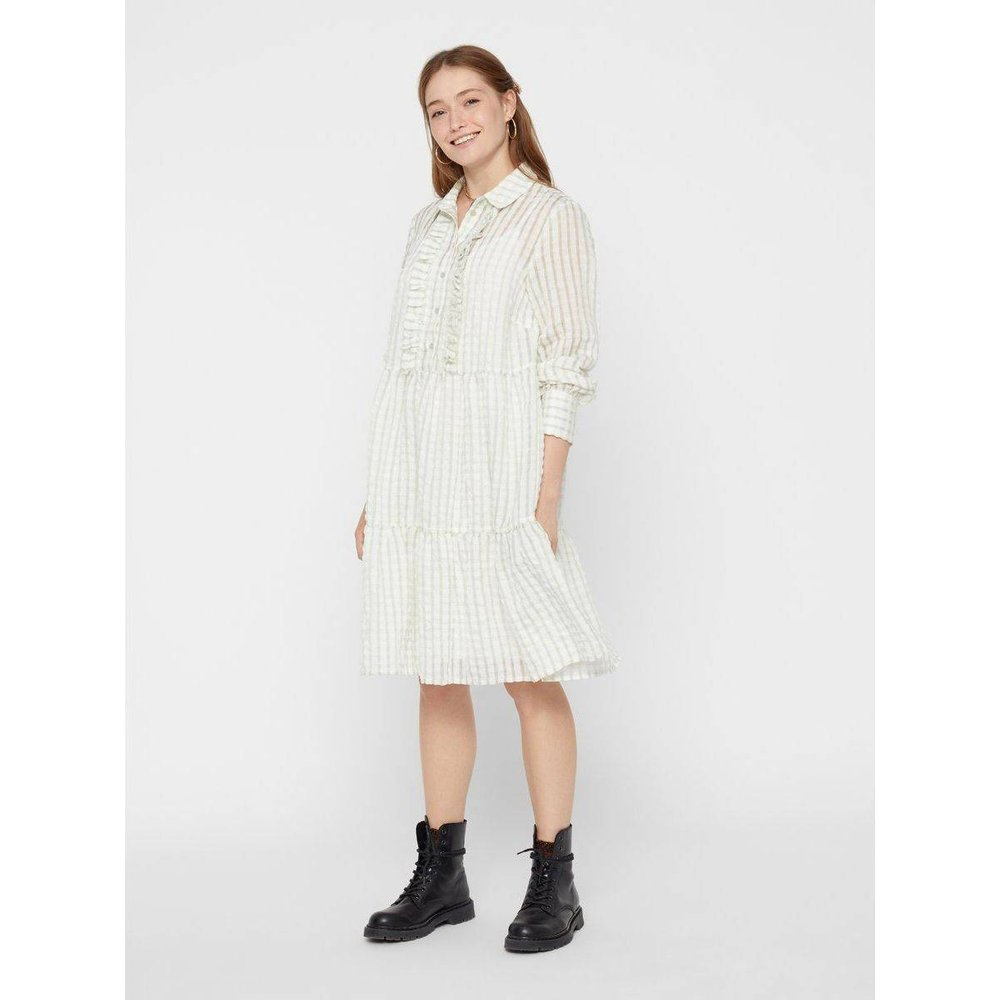 Robe-chemise Carreaux mi-longue - Pieces - Modalova