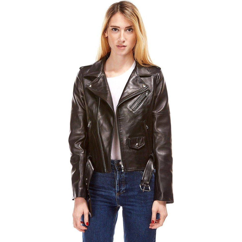 Blouson style biker en cuir souple ALY, made in France - DKS - Modalova