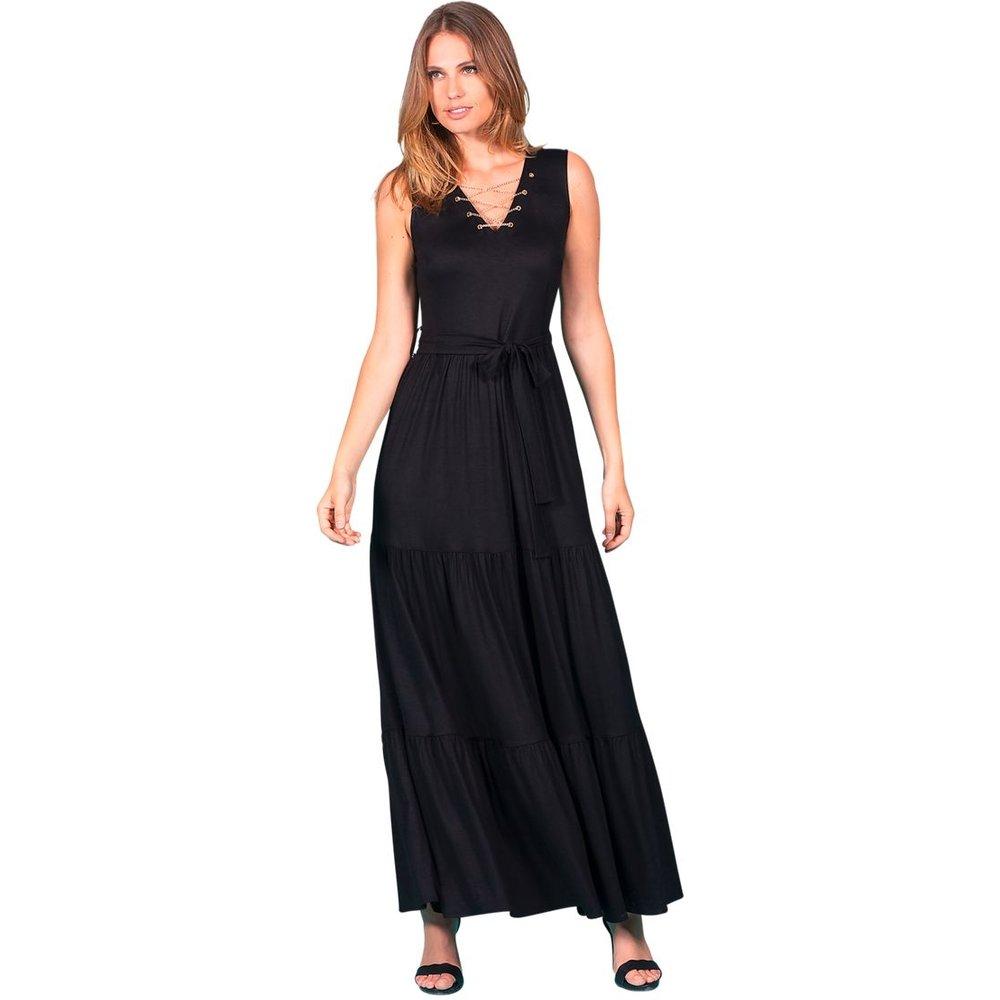 Robe longue sans manche jupe volantée MIDNIGHT - BLEU D'AZUR - Modalova
