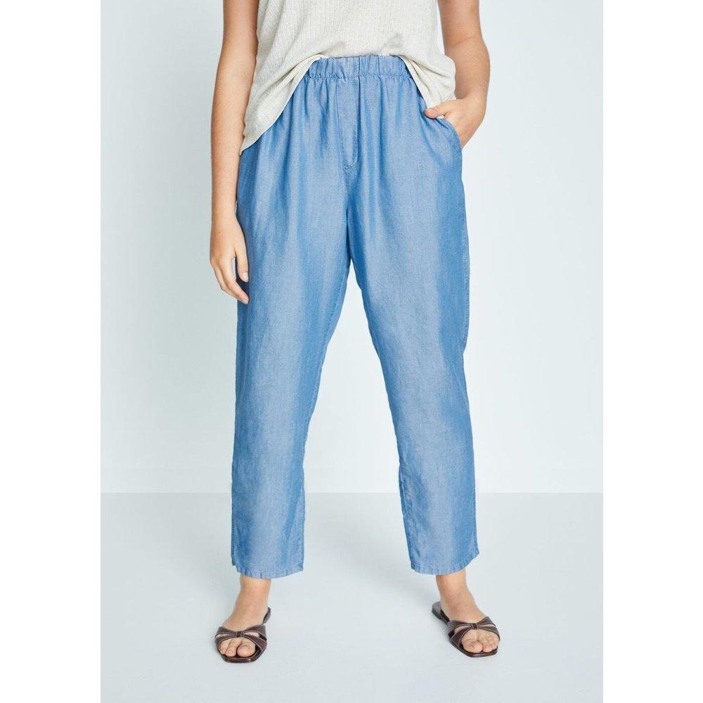 Pantalon baggy lin - Violeta by Mango - Modalova