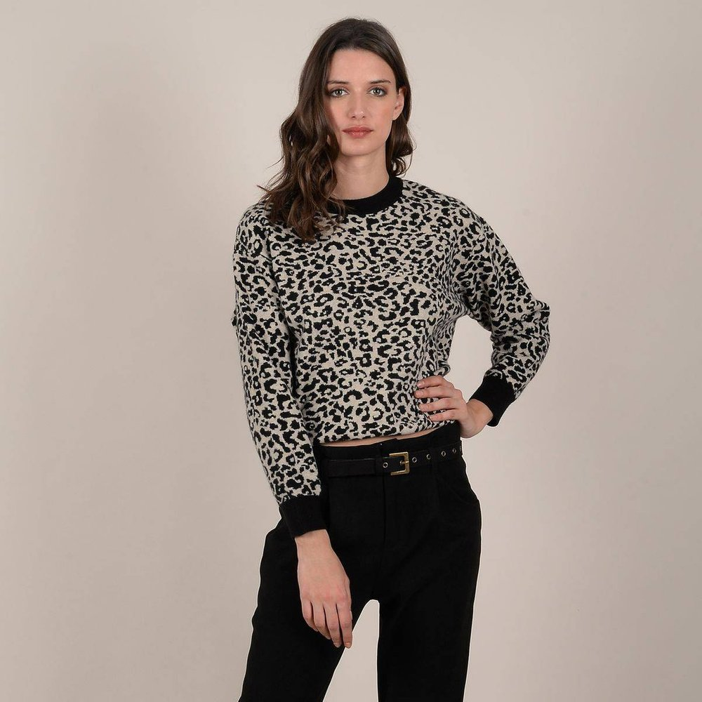 Pull imprimé léopard col rond - MOLLY BRACKEN - Modalova