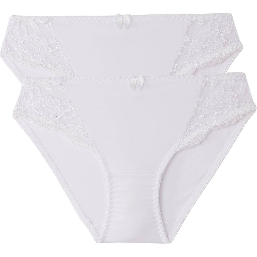 Lot de 2 slips dentelle et microfibre - LA REDOUTE COLLECTIONS - Modalova