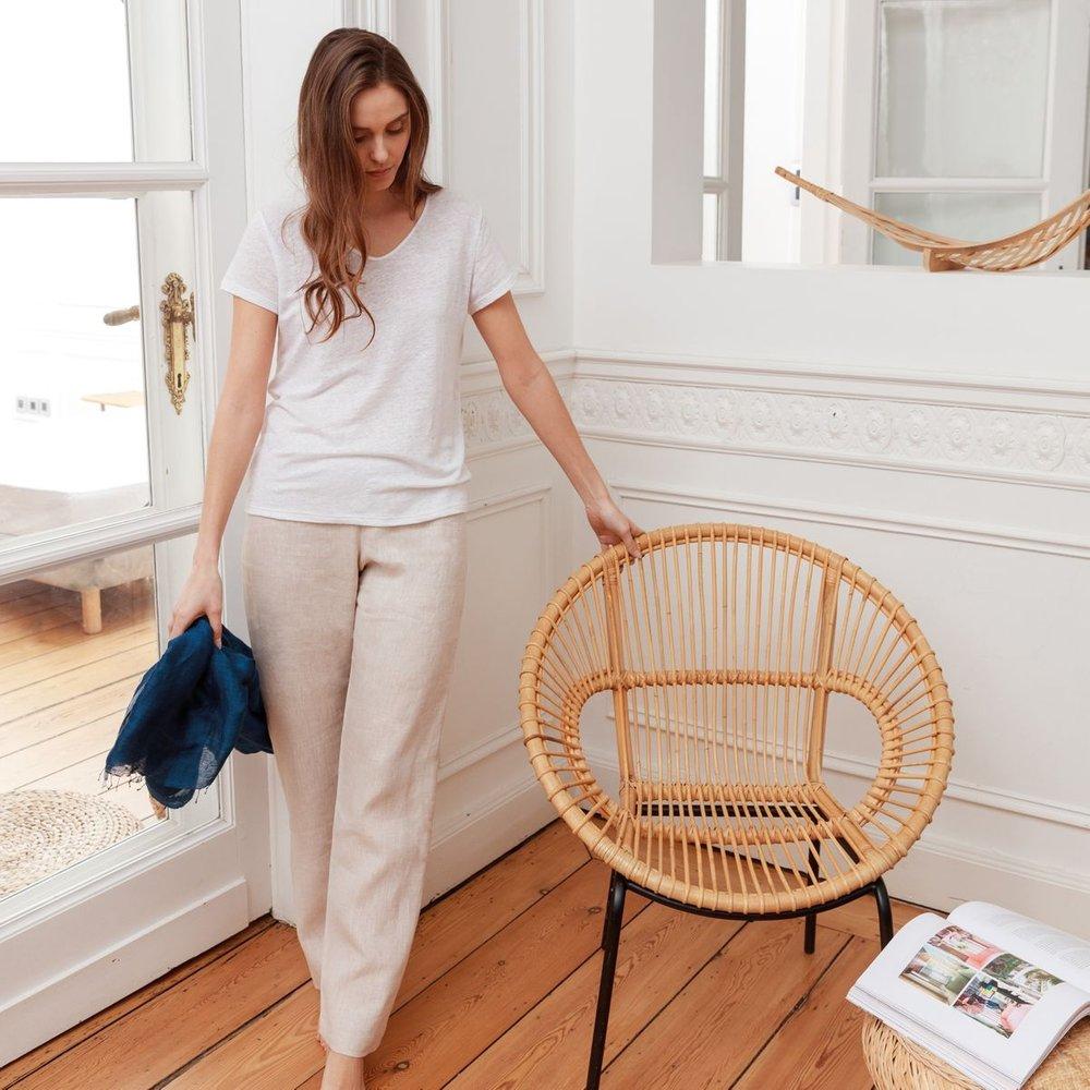 Pantalon en lin français - BLANC CERISE - Modalova