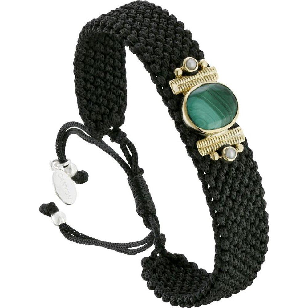 Bracelet cordon en argent 925, dorure or, Malachite, 5.12g - Canyon - Modalova
