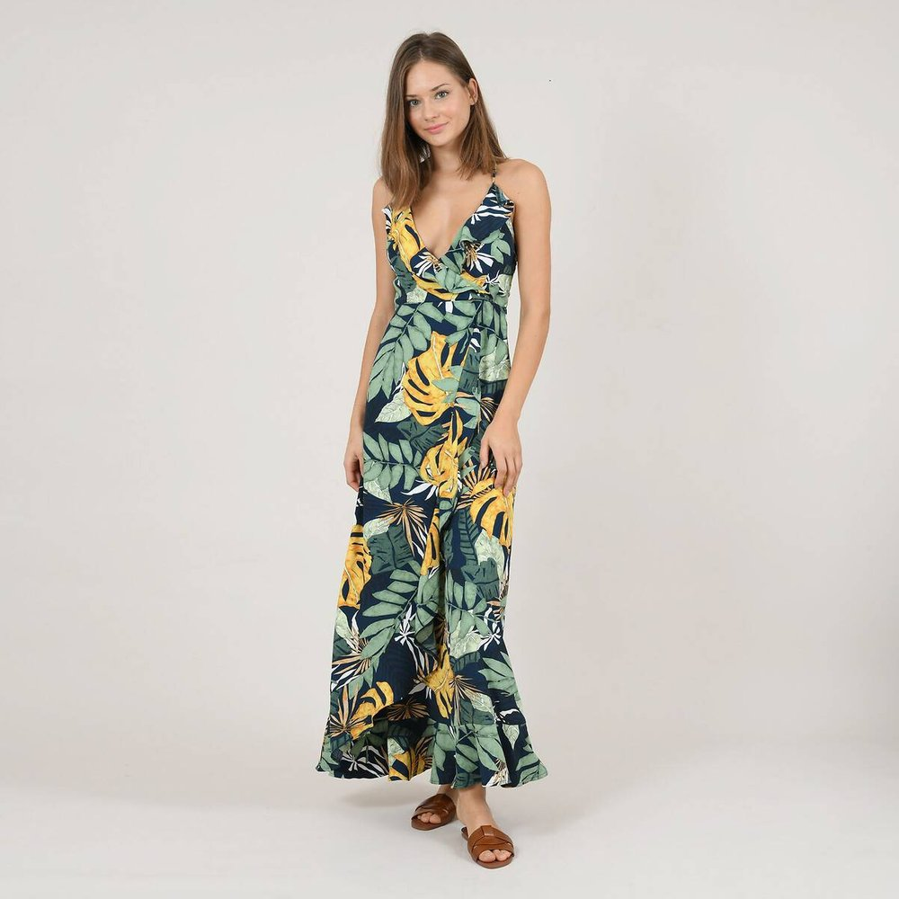 Robe longue imprimé tropical, lacages au dos - MOLLY BRACKEN - Modalova