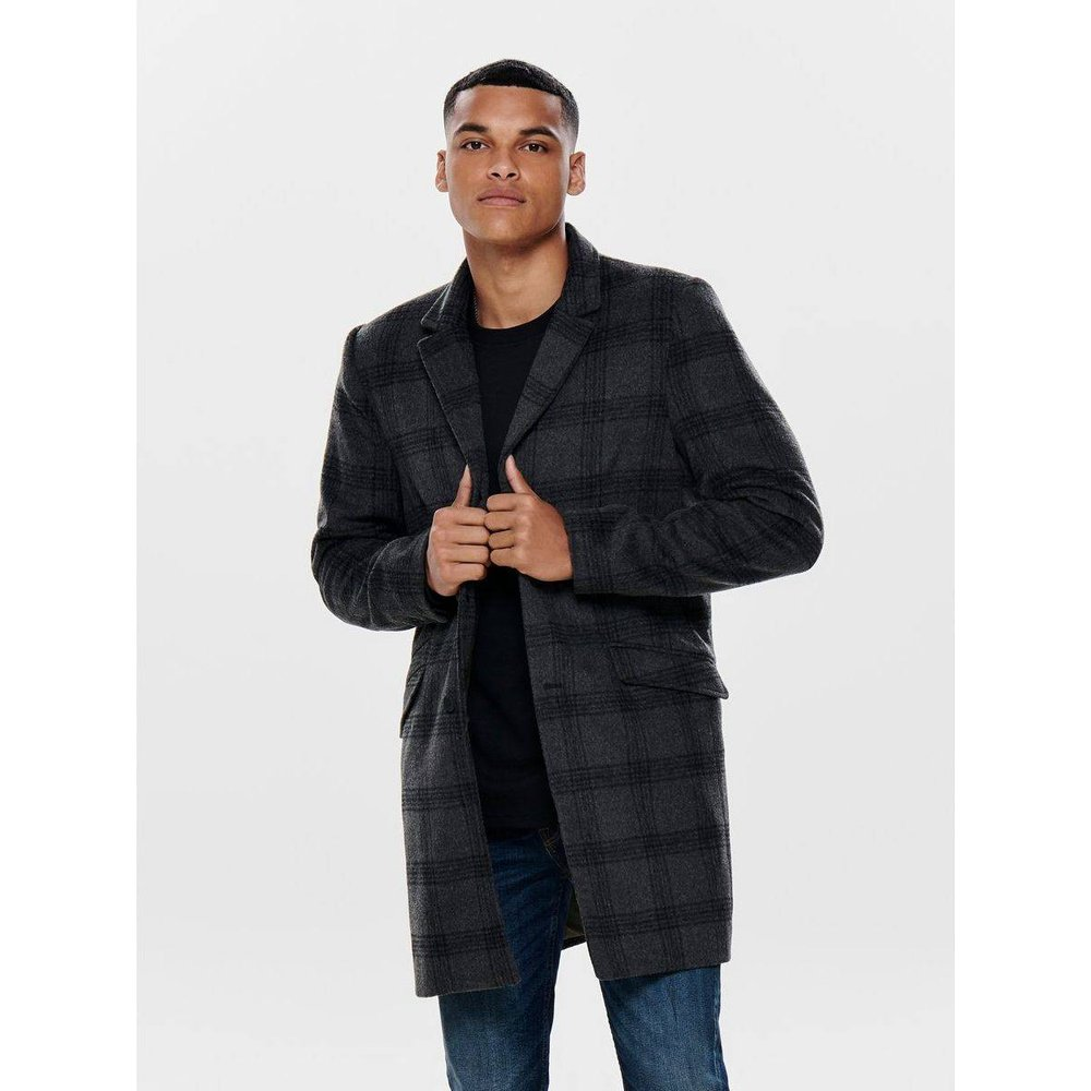 Manteau Carreaux laine - ONLY ET SONS - Modalova