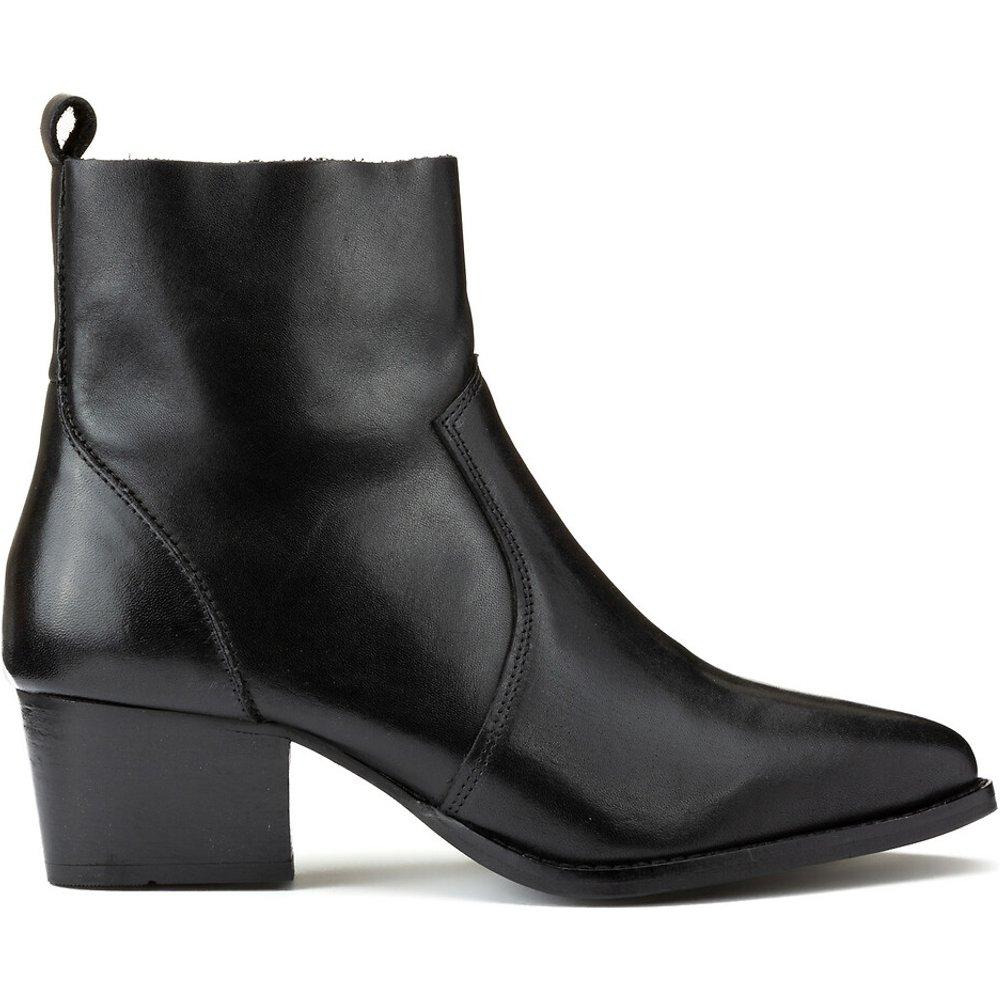 Boots en cuir talon large - LA REDOUTE COLLECTIONS - Modalova