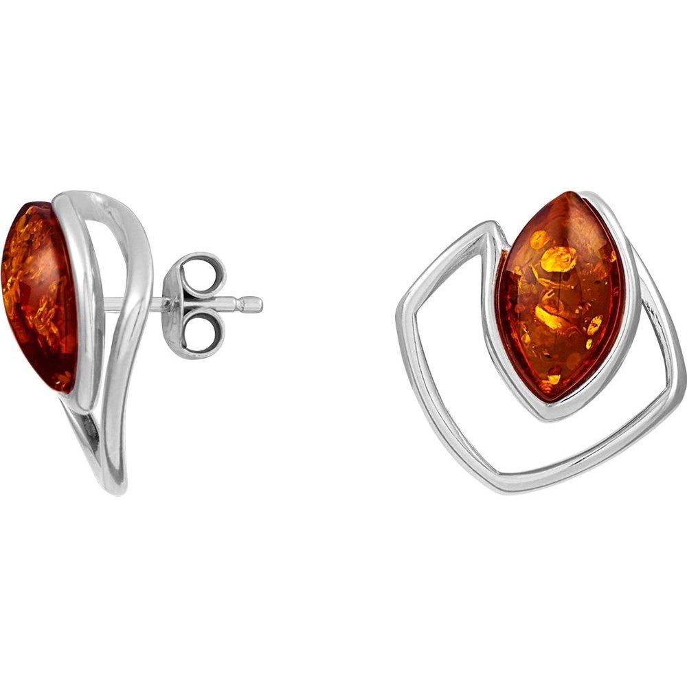 Boucles d'oreilles en Argent 925/1000 et Ambre - CLEOR - Modalova