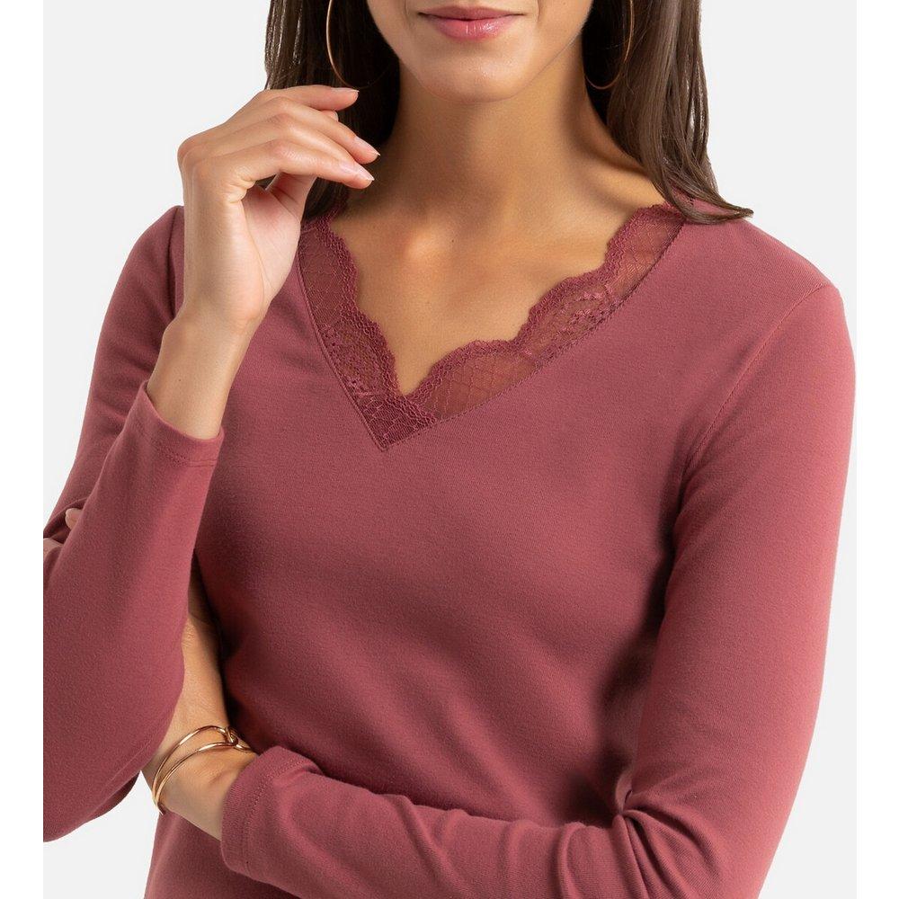 T-shirt col V dentelle, manches longues - Anne weyburn - Modalova